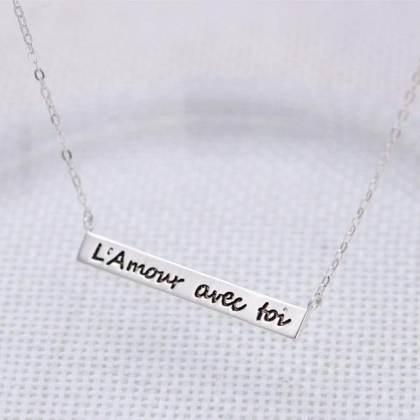 сребърно колие любов с теб на френски език