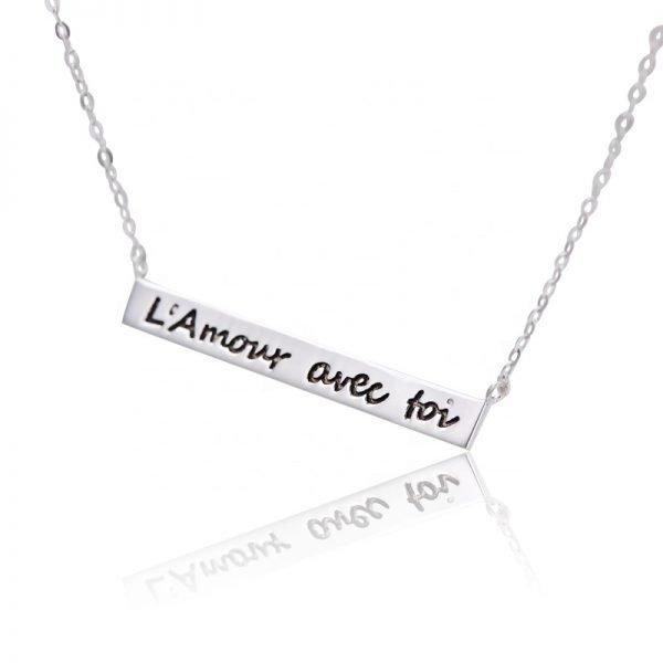 сребърно колие с надпис l'amour avec toi