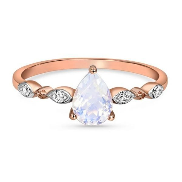 silver ring with moonstone and rose gold plating
