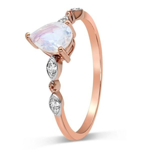 925 sterling silver and rose gold plated moonstone ring