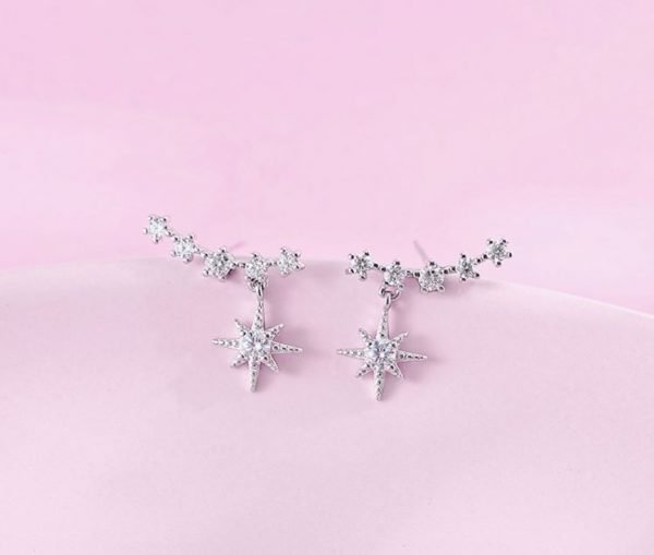 silver earrings with cubic zirconia temptation photographed in central detail on pink background