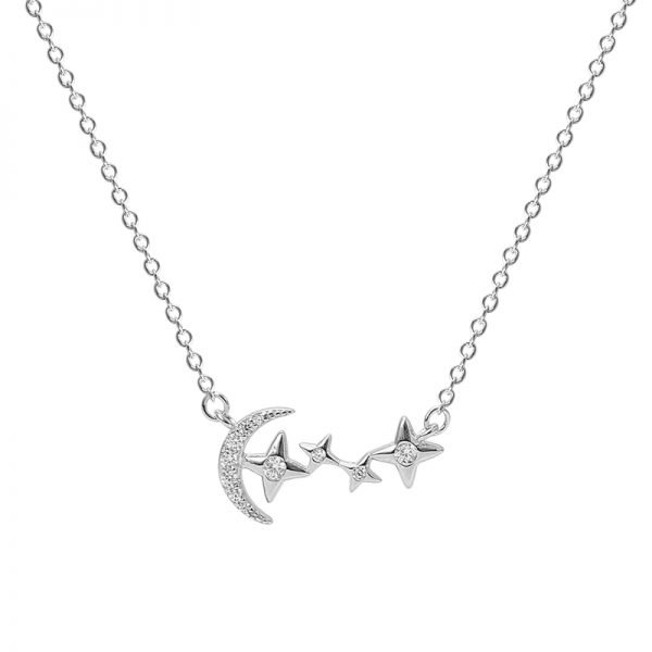 detailed frontal close-up of a silver necklace with half moon and four stars with cubic zirconia on white background