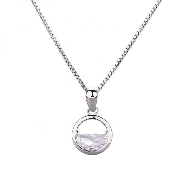 silver necklace with Venetian braid and oval silver pendant photographed in frontal close-up on white background
