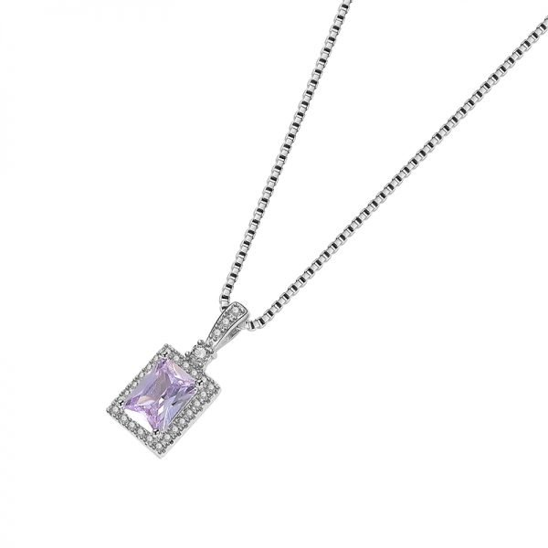 product photography of silver necklace with Venetian braid and purple cubic zirconia on white background