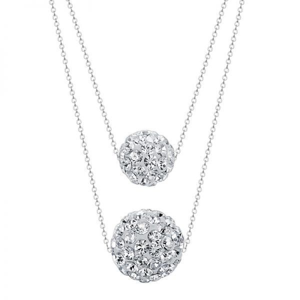 detailed product photography of a double silver necklace focusing on its oval elements covered with cubic zirconia on a white background