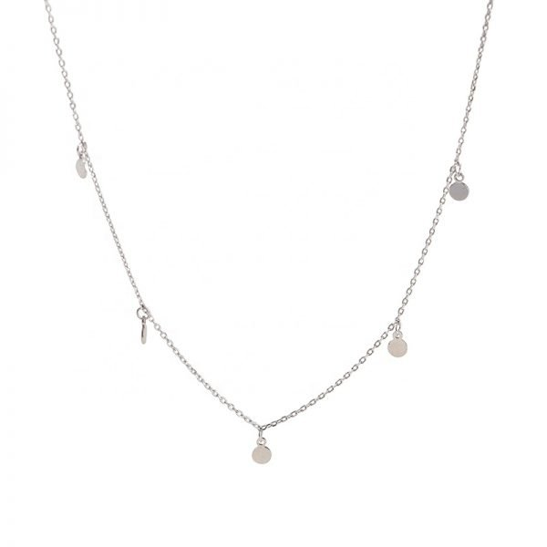 Product photography of a clear silver necklace with five oval charms photographed frontally on a white background