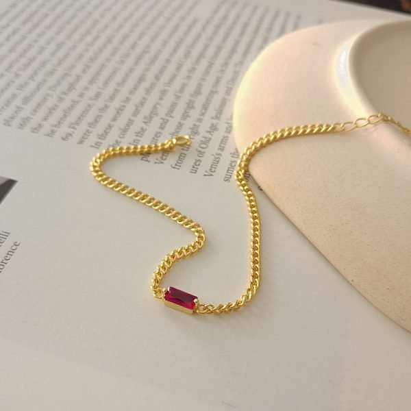 gold plated bracelet silver 925 red cubic zirconia stone