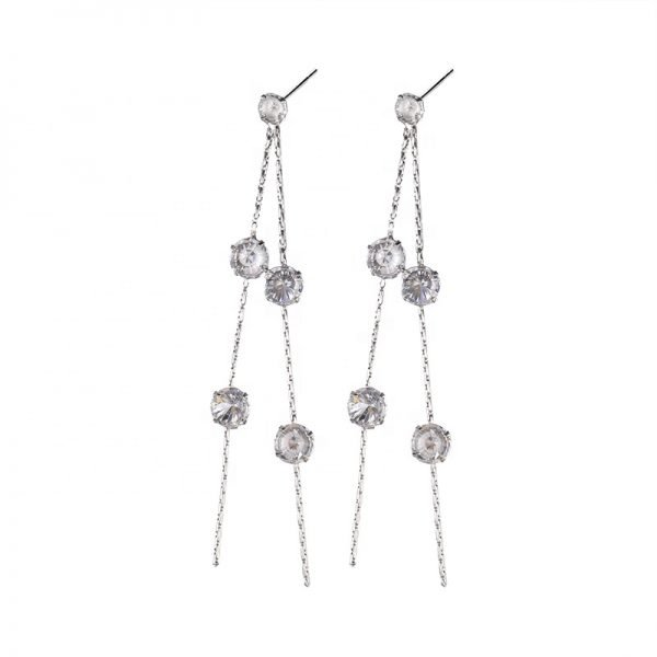 frontal product photography of a picture of hanging silver earrings with 10 cubic zirconia stones on a white background