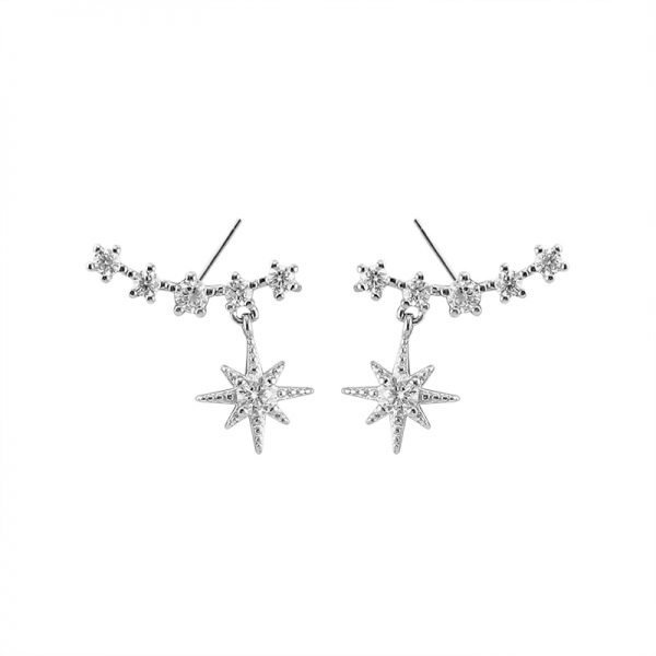 silver earrings with cubic zirconia and dangling star photographed in central detail on white background