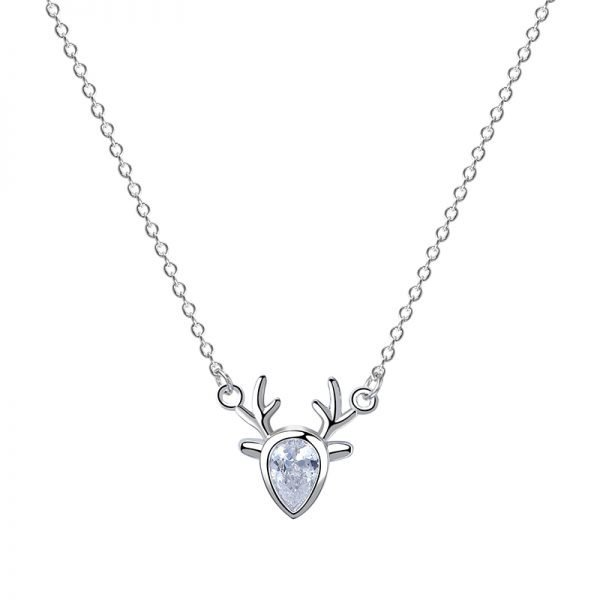 detailed frontal photo of a silver necklace with a pendant in the shape of a deer with a cubic zirconia in the middle on a white background