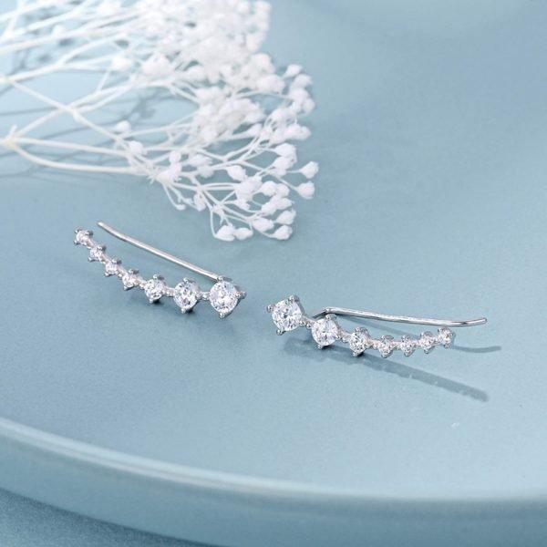 големия модел на уникалните сребърни обеци фиби изкачващи се по ухото с камъни кубичен цирконий снимани на син фон от сребърна бижутерия силенти