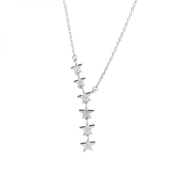 frontal photo of a silver necklace with six small crystal stars on a white background