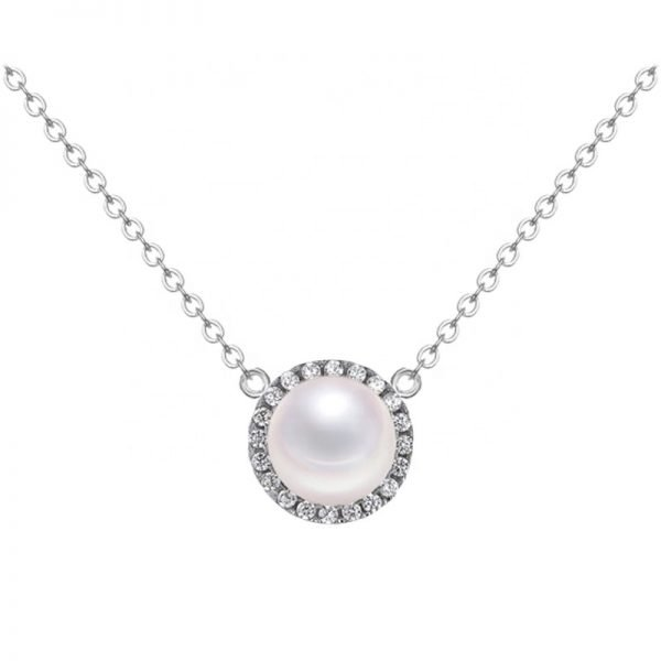 silver necklace with massive pearl photographed frontally on white background