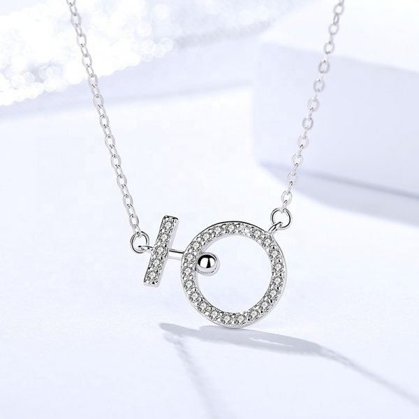 silver necklace with classic braid and pendant studded with cubic zirconia