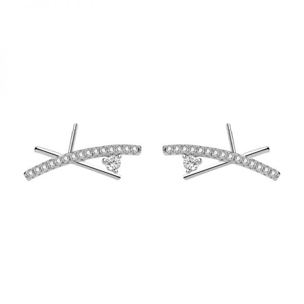 detailed frontal photo of silver earrings with multiple cubic zircons on white background
