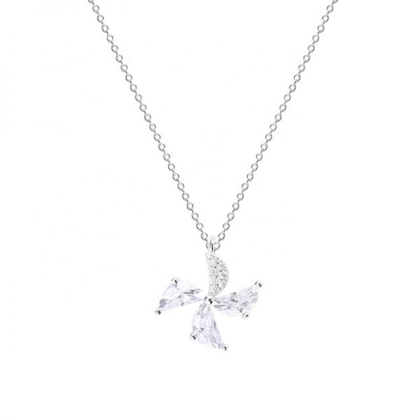 beautiful silver necklace and pendant in the form of a flower photographed frontally on a white background