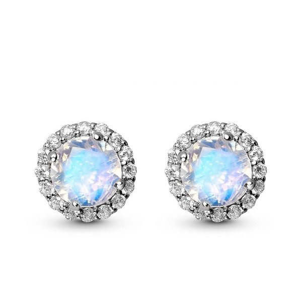 Detailed frontal photo of silver stud earrings with natural moonstone on white background