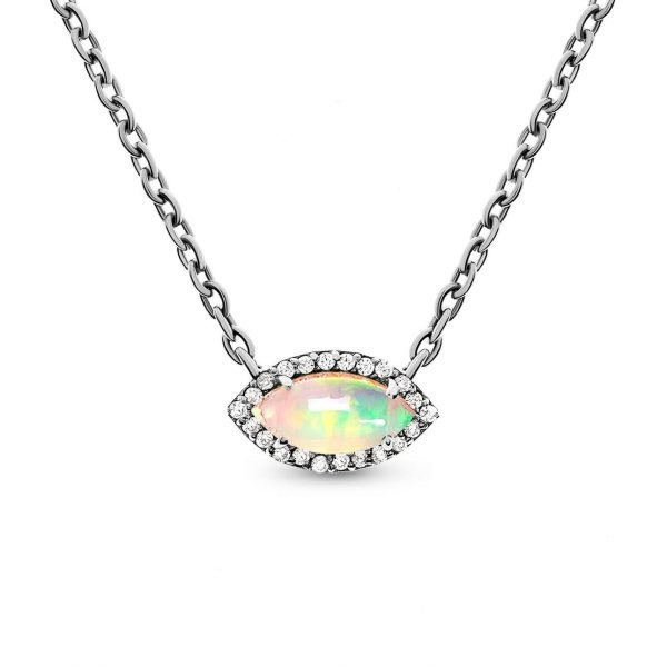 detailed photo of a silver necklace with natural Ethiopian opal on white background