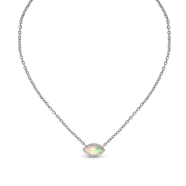silver necklace with natural Ethiopian opal photographed on the front on white background