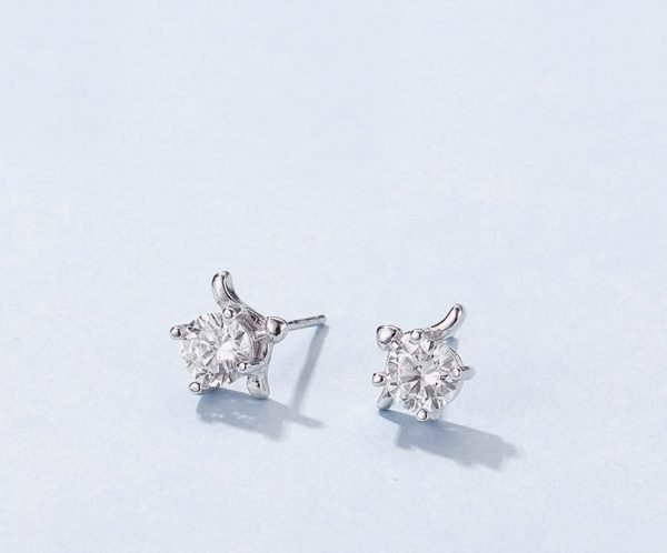 """zodiac silver earrings """"Sagittarius"""" photographed in close-up"""