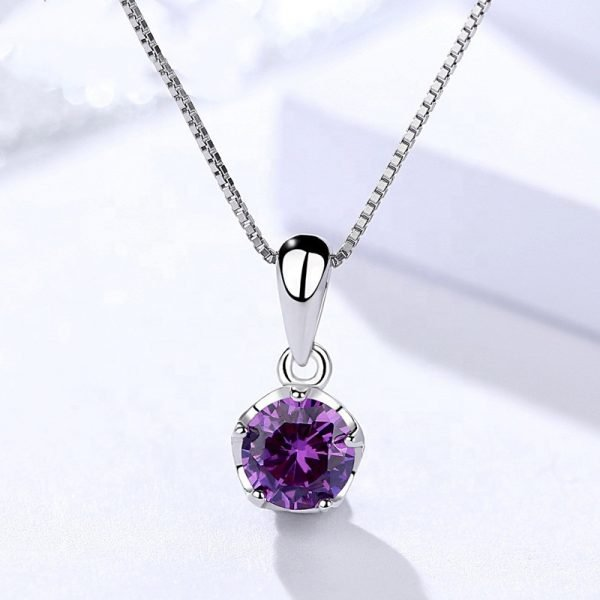 silver necklace with Venetian braid and oval pendant with massive purple cubic zirconia