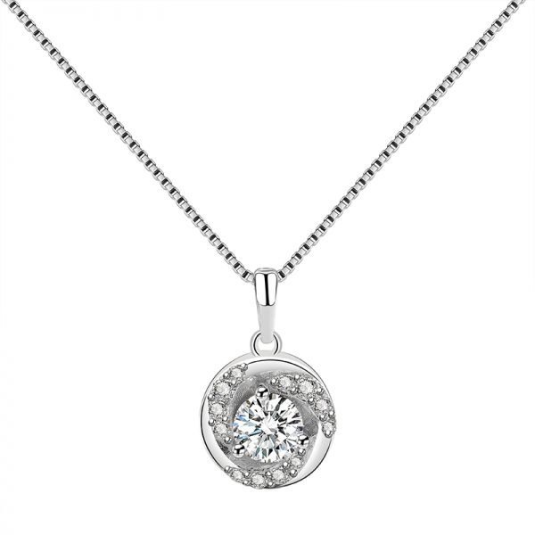 silver necklace with Venetian braid and oval pendant covered with cubic zirconia on white background