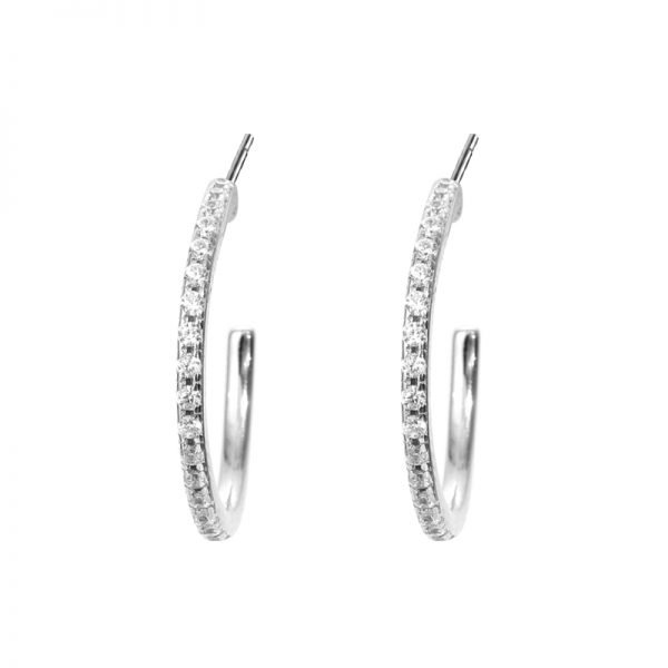 silver earrings with cubic zirconia - detailed frontal shot on white background