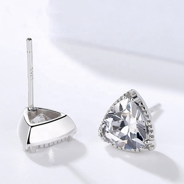 silver earrings set in triangular shape and cubic zircons - one earring is turned to show screw fastening