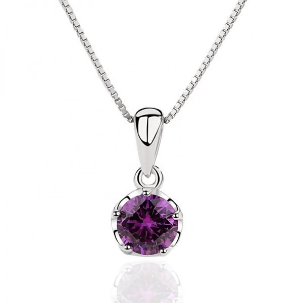 silver necklace with Venetian braid and oval pendant with massive purple cubic zirconia on white background