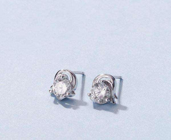 """zodiac silver earrings """"Capricorn"""" photographed in close-up at an angle"""