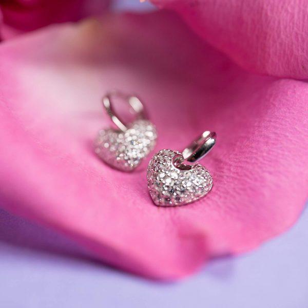сребърни малки халки в сърцевидна форма снимани в листо от роза