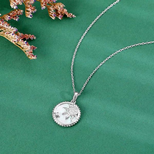 silver necklace with round pendant depicting sun and star photographed on green surface