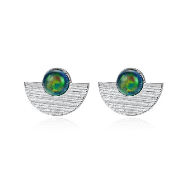 silver earrings with opal resembling the colours of the globe