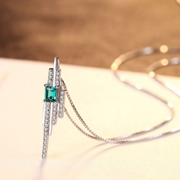 silver necklace of Venetian braid with rectangular green topaz