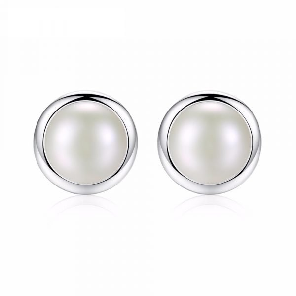frontal shot of oval pearl earrings with silver screw circle on white background