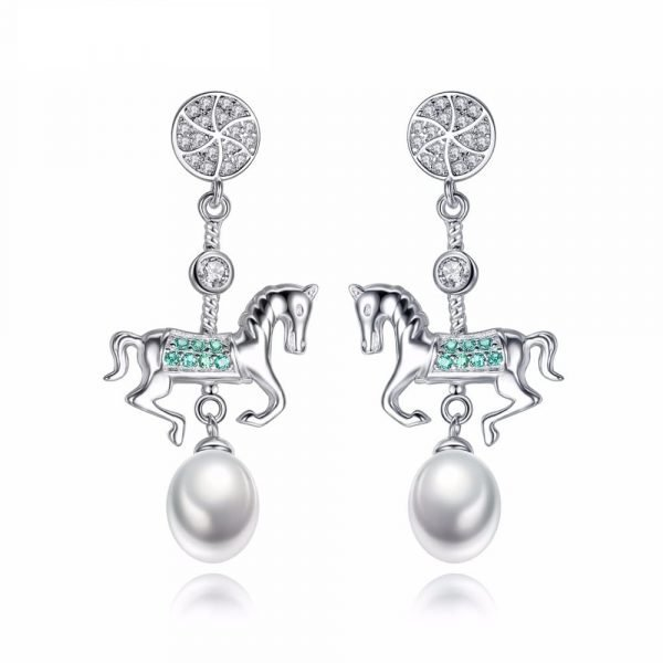 hanging silver earrings with a pendant in the shape of a horse and a pearl under it