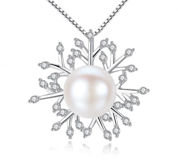 frontal shot of silver necklace of Venetian braid, pearl and cubic zirconia on white background