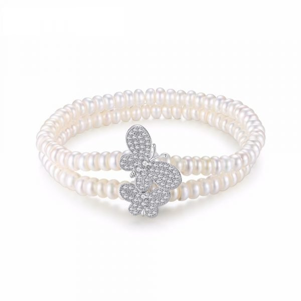 double row pearl bracelet with two butterflies covered with cubic zirconia photographed frontally on white background