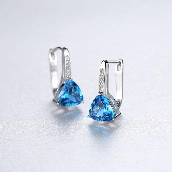 сребърни обеци с английско закопчаване и син кубичен цирконий