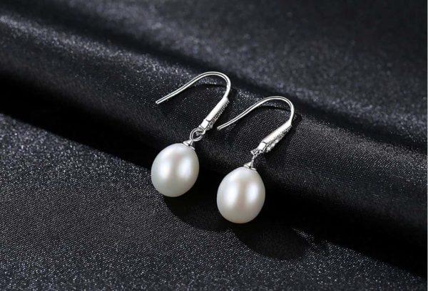 сребърни висящи обеци с перли и закопчаване тип кука