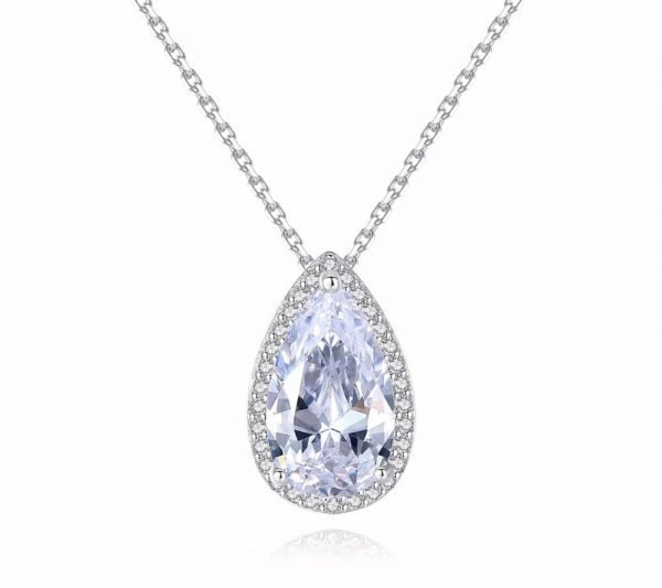 detailed photo of silver necklace with cubic zirconia drop pendant on white background