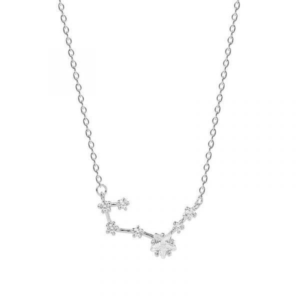 frontal close-up of silver necklace with delicate zircon pendant in the form of stars on white background