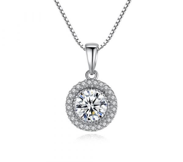 frontal photo on white background with silver necklace of Venetian braid and oval pendant with massive cubic zirconia