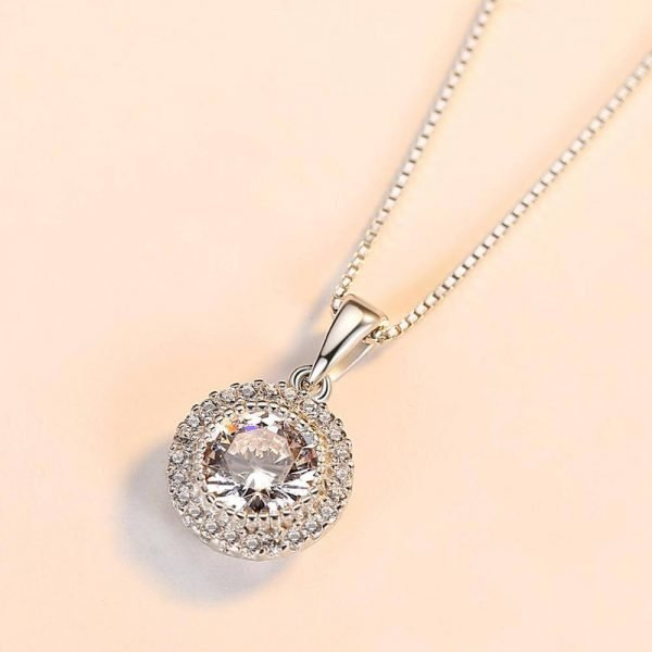 silver necklace with Venetian braid and oval pendant with massive cubic zirconia