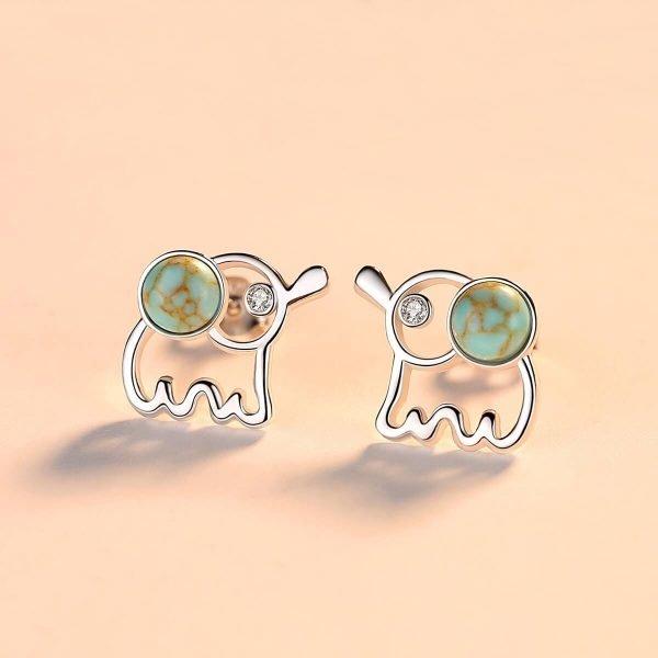 сребърни обеци с цветен камък във формата на слонче