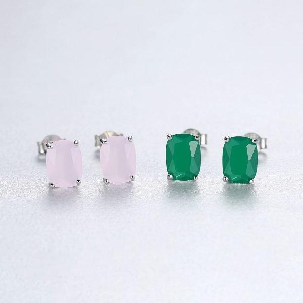сребърни обеци на винт с красив и масивен кристал в два различни цвята